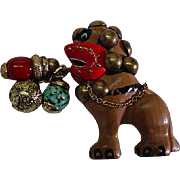 Vintage Trembler Hand Carved and Painted Colorful Foo Dog Pin