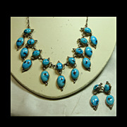 SALE Sterling Silver and Turquoise Small Festoon Style Necklace and Earrings