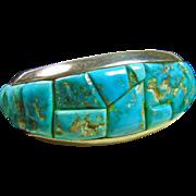 Morenci Turquoise Stone on Stone CobbleStone  Sterling Silver Cuff Bracelet