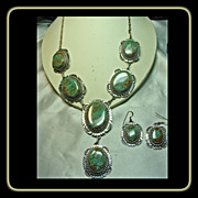 SOLD Charles Johnson Sterling Silver Necklace and Earrings with Turquoise Mountain Turquoise