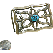Southwestern Sand Cast Belt Buckle in Sterling Silver with Turquoise Nugget