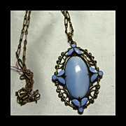1930s  Blue Glass and Enamel in Brass Setting