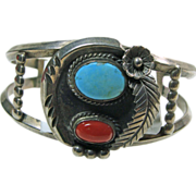 Sterling Silver Small Cuff Bracelet with Turquoise and Coral