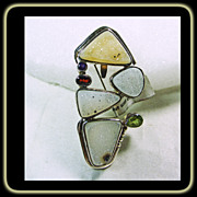 Sterling Silver Druzy Quartz Pin/ Pendant with Peridot, Amethyst and Garnet