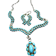 SOLD Sterling Silver Sterling Silver and Snake Eye Turquoise Necklace and Earrings