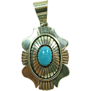 Charles Johnson Sterling Silver and Turquoise Pendant