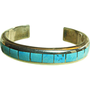 Sterling Silver Narrow Cuff Bracelet with Turquoise on Metal Inlay