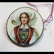 Enamel on Metal Portrait Pin of A Girl in Swiss Regional Costume