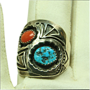 Sterling Silver Overlay Cigar Band Ring with Turquoise and Coral