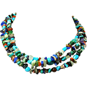 Multiple Colored Stone 3 Strand Necklace