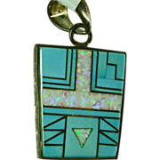 Sterling Silver Pendant with Turquoise and Pink Opal Inlay