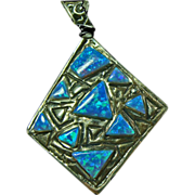 Sterling Silver Diamond Shape Pendant with Opal Inlay