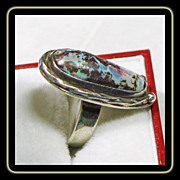 Boulder Opal ring in Sterling Silver