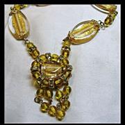 SALE PENDING Golden Foil Glass Bead Necklace