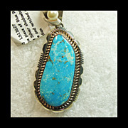 Sterling Silver Southwestern Pendant with Blue Ridge Turquoise