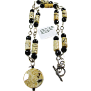 Carved Felspar, Black Agate and Sterling Silver Necklace
