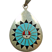 SALE Zuni Sterling  Silver Pendant with Stone on Metal Inlay of the Sun God