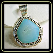 Blue Green Druzy in Sterling Silver Pendant