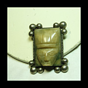 Mexican Silver Broach with Face Carved in Stone