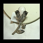 Mexican Silver and White Stone Flower Brooch