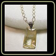 SALE Golden Rutile Quartz Pendant on Sterling Silver Chain