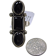Oversize Black Onyx and Sterling Silver Ring by E. Etsitty