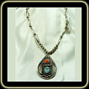 Sterling Silver Coral and Turquoise Pendant on a Silver Bench Bead Necklace