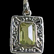 Emerald Cut Lemon Quartz Sterling Silver Pendant
