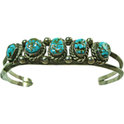 Small Scale 2 Wire Sterling Silver Cuff Bracelet with Turquoise
