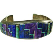 SOLD Alvin Yellow Horse Sterling Cuff Bracelet with Inlay in Shades of Blue, Lavender and Gree