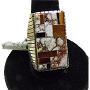 Large Sterling Silver Ring with Wild Horse and Onyx Stone on Metal Inlay