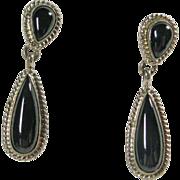 Southwestern Black Onyx Drop Style Earrings in Sterling
