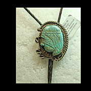 Unique Bolo /Pendant Decorated with the Profile of Native American Carved in Turquoise