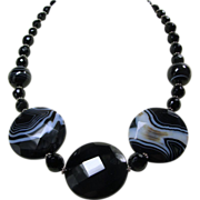 Band Black Agate and Sterling Silver Necklace