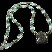 SALE Clear Quartz, Apatite and Silver Necklace with Australian Boulder opal Pendant