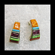 Multicolor Sterling Silver Tapered 1/3 Hoop Earrings Decorated in A CornRow Design