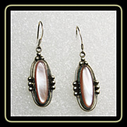 Pink MOP and Sterling Silver Earrings