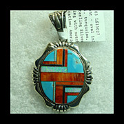 SALE Large Sterling Silver Pendant with Spiny Oyster, Turquoise and Opal Inlay Decoration by .