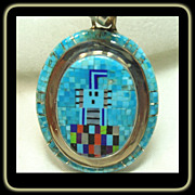 Micro Mosaic Turquoise Pendant in Sterling Silver