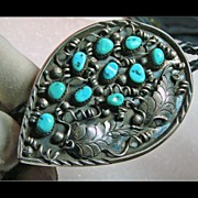 SALE Unusual Sterling Silver Bolo with Turquoise and Overlay Silver Work