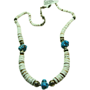 SALE Shell Heishi and Turquoise Nugget Necklace