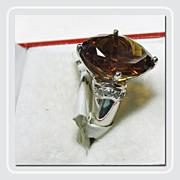 SALE Deep Cognac Quartz in a Heavy Sterling Silver Ring