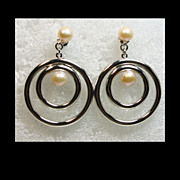 Sterling Silver Large Double Hoop Earrings with Pearl Drop
