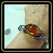 Sterling Silver Arts & Crafts Style with Baltic Amber