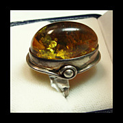 Vintage Baltic Amber Ring in Sterling Silver
