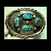 Eye Catching Belt Buckle In Sterling with Turquoise