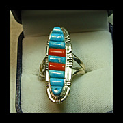 Navette Shaped Sterling Silver Ring with Turquoise and Coral Cornrow Decoration
