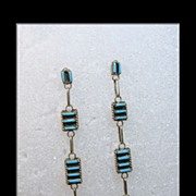 Zuni Needle Point Turquoise and Sterling Silver Earrings