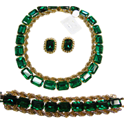 SALE PENDING Necklace, Bracelet, and Earrings in Bright Green Rhinestones and Bright Gold Tone