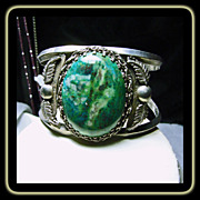 Sterling silver Cuff Bracelet with Large Chrysocolla Malachite Stone